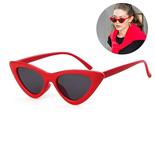 7076728b2350a Cat Eye Sunglasses for Women Narrow Vintage Cateye Sun Glasses Plastic  Frame Red