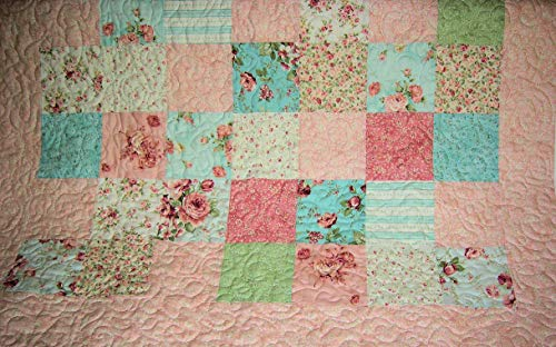 Handmade Quilted Baby Blanket - Baby Girl PatchworkQuilt and Burp Pads Pink Aqua, Baby Blanket, Handmade Quilted Newborn Nursery Bedding
