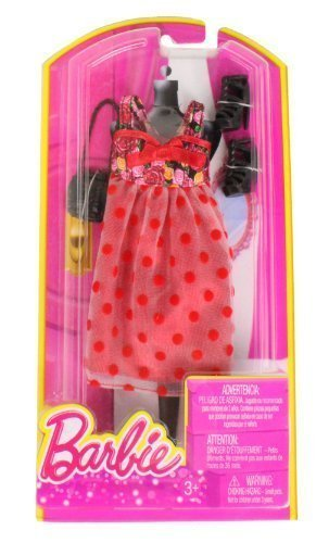 [Barbie Dress Up Rose and Polka Dot Dress with Fashion Accessories] (Baby Mama Movie Costume)