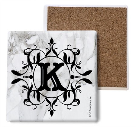 (SJT ENTERPRISES, INC. Initial/Letter Marble Texture Coasters -K Absorbent Stone Coasters, 4-inch (4-Pack) (SJT96816))