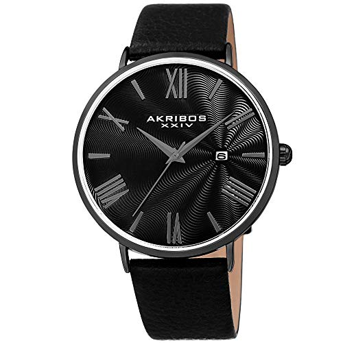 Akribos XXIV Men's Watch - Smooth Genuine Leather Black Band - Classic Round Case, Roman Numeral Markers, Guilloche Dial - AK1041BK