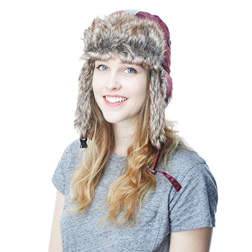 Faux Fur Safety Reflective Aviator Trapper Hat Snow Ski Trooper Winter Cap (Adult, Burgundy)