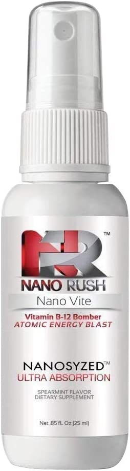 Nano Rush Vitmin B12 Bomber - Nanotechnology Spray Vitamin B 12 for Fast and Easy Absorption Without Pills (Spearmint Spray 30 Day Supply)