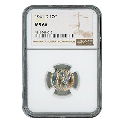 1941 D Silver Mercury Dime 10 MS66 NGC