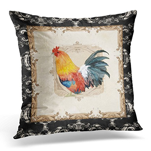 Toile Print Black - Emvency Throw Pillow Cover Vintage Style French Damask Black N White Rooster Decorative Pillow Case Watercolor Home Decor Square 18 x 18 Inch Cushion Pillowcase