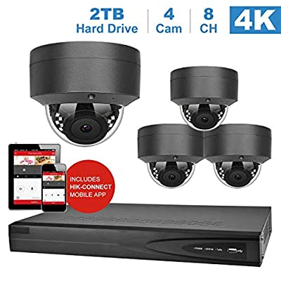 Anpviz 8 Channel 4K Home Security System with 4 Dome 8MP IP POE Cameras, 2TB Storage - Outdoor Camera IP66, H.265+, Plug and Play, Remote Home Monitoring System, IPK768025G-6 (NVR by Hikvision)