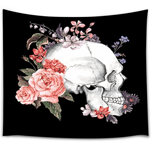 Cheerhunting Black & White Floral Skull Wall Hanging Fabric Tapestry 60