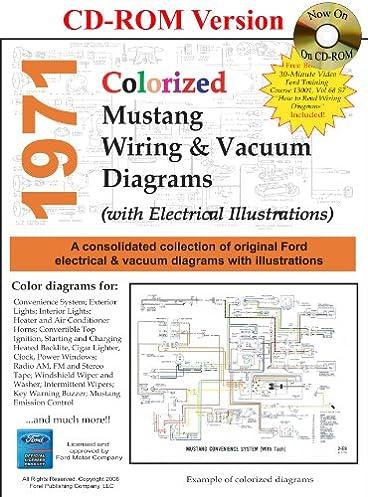 1971 colorized mustang wiring vacuum diagrams david e leblanc rh amazon com