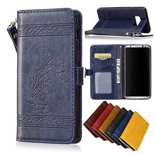 Black Sale Friday Deals Cyber Sales Monday Deals Sales 2018-Samsung Galaxy S8 Wallet Case,Valentoria Pretty Flower Premium Vintage Emboss Leather Wallet Pouch Case with Wrist Strap (Blue)