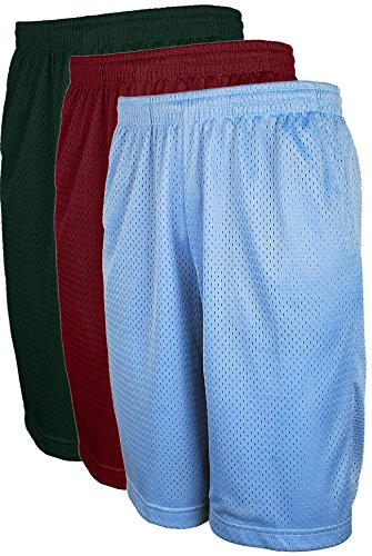 ViiViiKay Men's Active Running Basketball Mesh Shorts With Pockets In Sets S-5XL SET3_Burg_DKGRN_SkyBlue - Shorts In Swim Running
