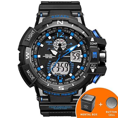 Amazon.com: SMAEL Casual Watch Men Waterproof montre homme Mens Wristwatch LED Digital Watches Men Clock Led reloj hombre Big Sport Watches 1376 Series ...