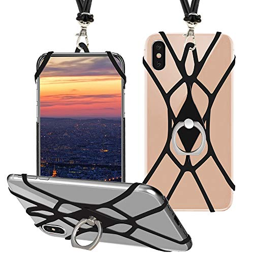 SHANSHUI Cell Phone Lanyard, Silicone Case Finger Ring Stand Stretchy Holder with Detachable Neck Strap Universal for iPhone X XS SE 5s 5 6 7 8 Plus and Most Smart Phones (Black)