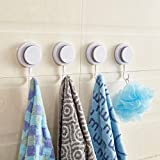 : JIURU Heavy Duty Suction Cup Wall Hooks for Shower, Bathroom and Kitchen, 4 Pack, Wall Mounted Waterproof Vacuum Suction Hooks Holder for Hanging Coat, Towel, Tools, etc. White ABS Plastic.