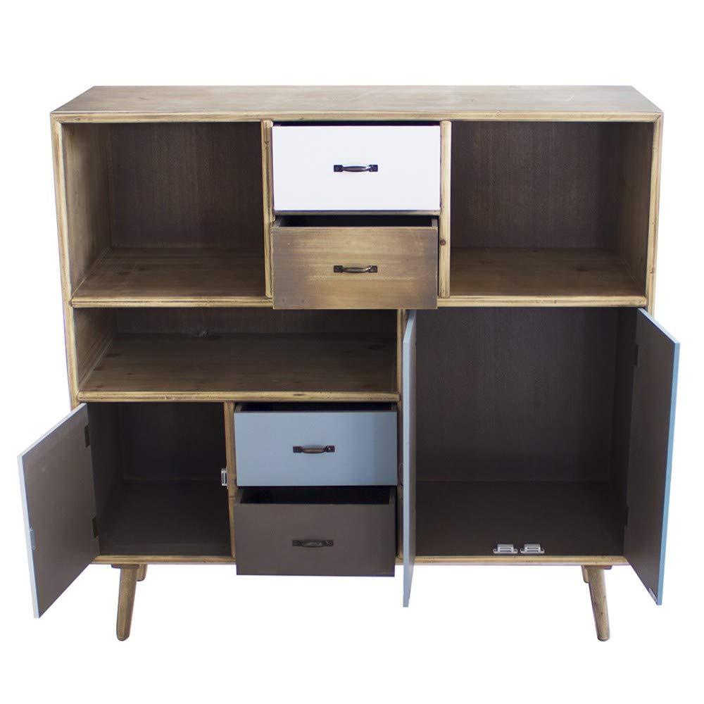 Mobiletto 3 Ripiani 3 Ante E 4 Cassetti Stile Industriale Cm 100 X 36,5 X 98,5 H per Interno Casa Salotto Ingresso Ufficio
