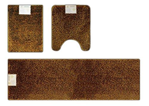 Verxii Home Bath Mat Set for Bathroom | Luxury Memory Foam Non Slip Soft Shaggy Bath Floor Mat Set | Multiple Choice (3-PCS Combo B, Bright Gold))