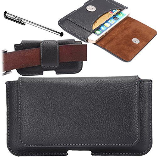 Urvoix(TM) Premium Leather Belt Clip & Loops Holster Pouch Case Cover with Credit Card Holder for iPhone 5 5S