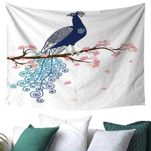Peacock Decor Home Decor Tapestry Illustration of Abstract Peacock on Blossom Tree Branch Ornate Summertime Festival Flags 72W x 54L Inch]()