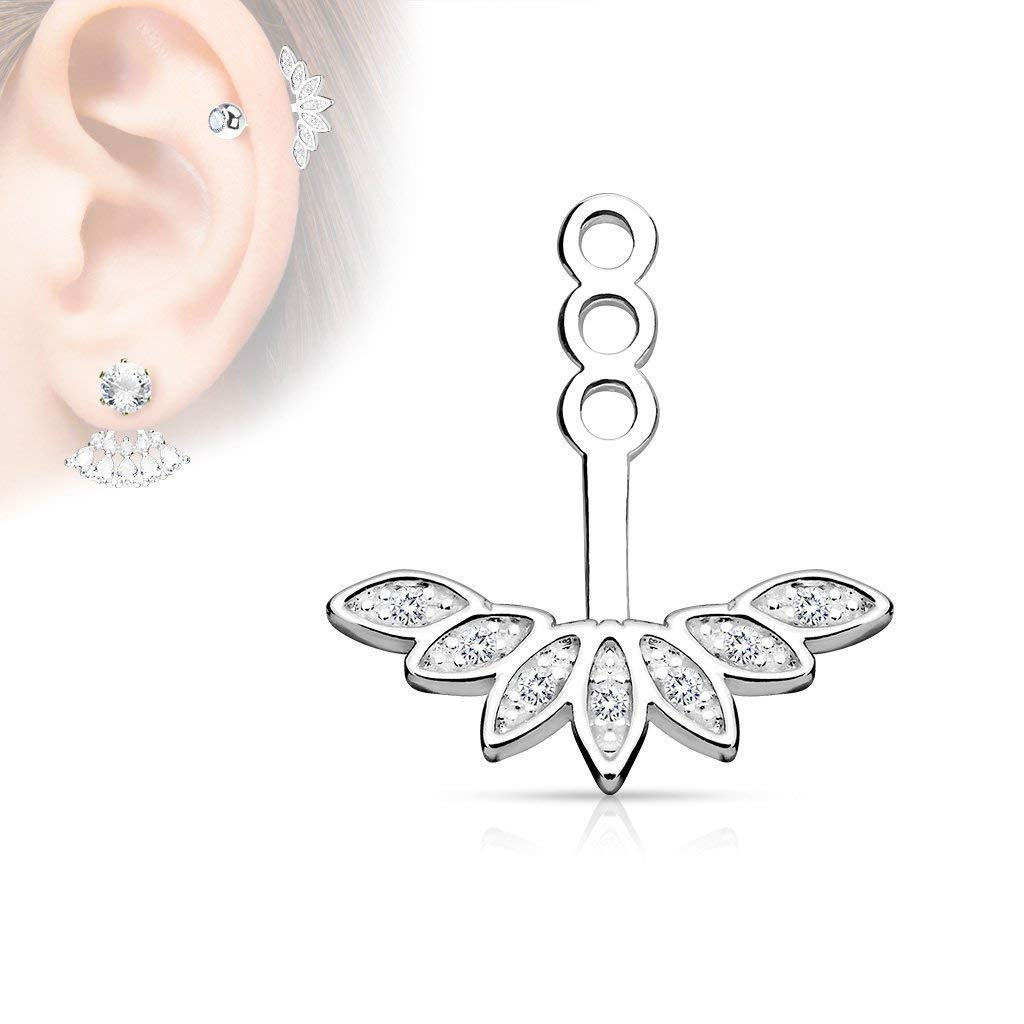 Micro CZ Paved Peacock Feather Earring Jacket/Cartilage Stud Add on Dangle (Clear)