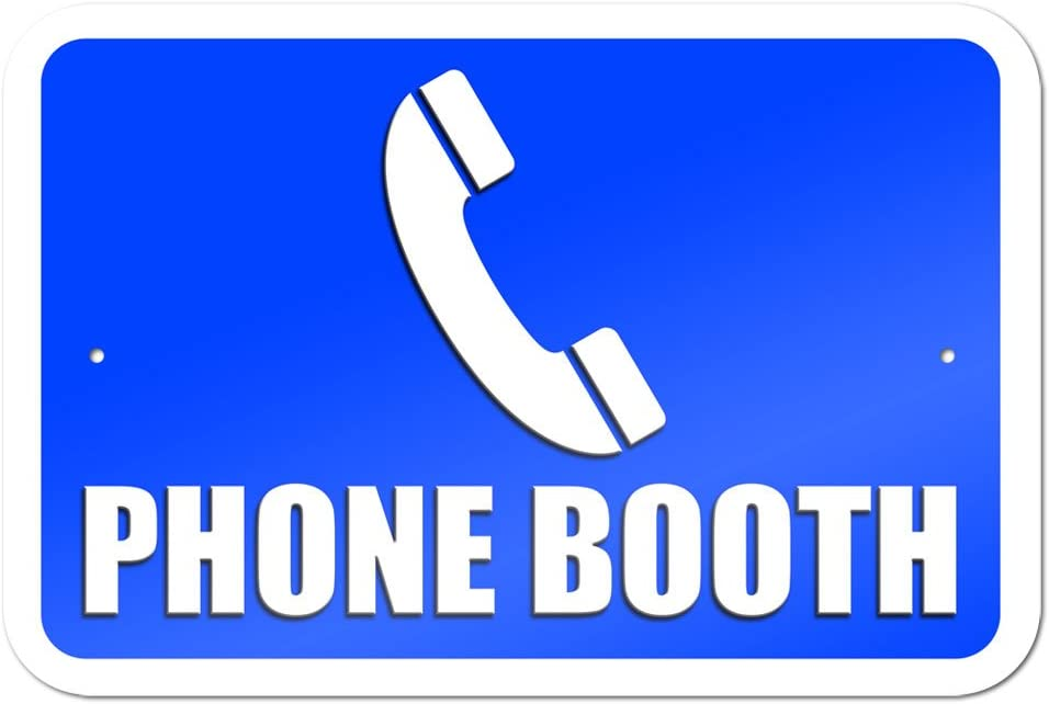 "Phone Booth 9"" x 6"" Metal Sign"