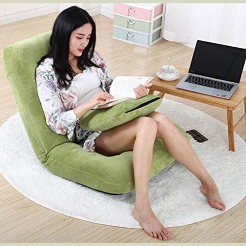 レイジーソファーシングル畳折り畳み式のシングルソファーベッドベッドレイジーチェアベッドルームコンピュータチェア張り出し窓チェア (Color : Green, Size : 116*67*16cm)