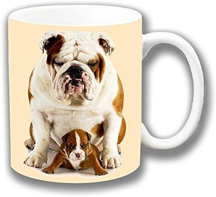 Bulldog Inglés Adulto y lindo cachorro Dad & Hijo Cerámica ...