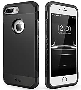 iPhone 8 Plus case, iPhone 7 Plus Case Shockproof Anti-Scratch Protective Heavy Duty Dual layer Rugged Cover Non-slip Grip Case for iPhone 8 Plus/7 Plus-Matte Black