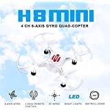 ECLEAR RC Mini Drone, JJRC 4 Channel 2.4GHz 6-Axis Gyro Aircraft with HD Camera LED Lights + Headless Mode 3D Roll Remote Control Quadcopter Toys For Adult Kids, by White
