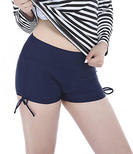 Dolamen Mujer Shorts de baño, trajes de baño Bañador Deportivo Traje de Baño Bañador de natación Bikini Para Mujer bragas pantalones cortos, Con cordón ajustable Estilo boyleg Azul oscuro
