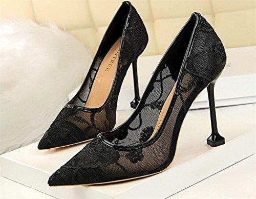 Boda Princesa Bordar black Corte Señoras Los eu39 Lujo Bride Altos Datan Que La Clásicas Oficina Del Partido Pumps Tacones Sandalias De Las Zapatos Muchachas Mujeres RqAvW4wRr