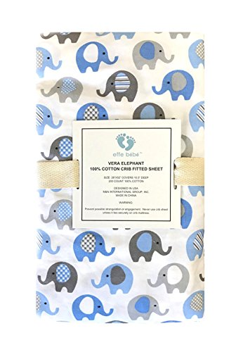 effe bebe Vera Elephant 100% Cotton Crib Fitted Sheet (Blue Grey)
