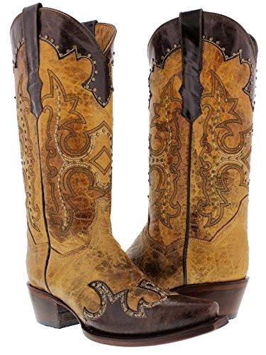 Cowboy Professionale Da Donna Marrone Sabbia Katy Baby In Pelle Da Cowboy Stivali Snip Toe Brown