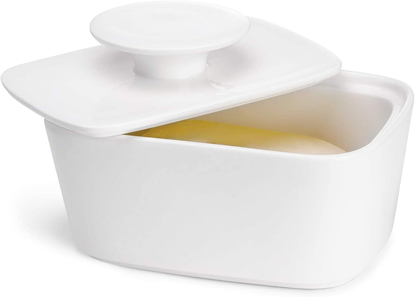Sweese 321.101 Large Butter Dish with Lid Porcelain Butter Keeper Container White Perfect for East Coast West Coast Butter and Kerrygold Butter