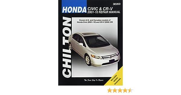 Honda civic 2001 10 and cr v 2002 09 repair manual 30203 honda civic 2001 10 and cr v 2002 09 repair manual 30203 0035675302036 amazon books fandeluxe Gallery