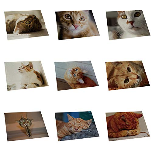 memorytime Cute 3D Cat Print Placemat Pad Linen Dining Table Insulation Mat Home Decor Kitchen Dining Supplies - 6# by memorytime (Image #3)