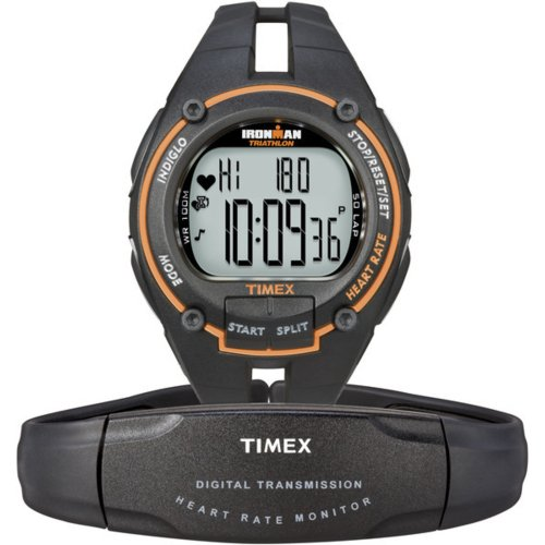 Timex Ironman Men's Road Trainer Heart Rate Monitor Watch, Black/Orange, Full Size, Health Care Stuffs