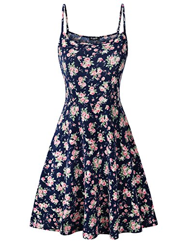FINMYE Rose Dress, Womens Sleeveless Floral Spaghetti Strap Dresses Blue S