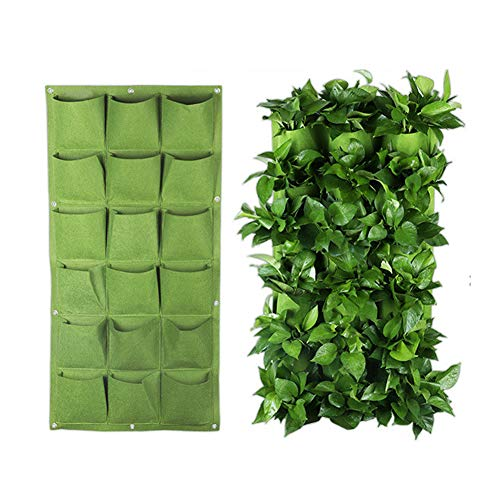 Angzhili 18 Pockets Wall Hanging Planter Bags for Wall Wall-Mounted Growing Bags for Indoor Vertical Hanging Wall Planter Green Planter Pouch(Green)