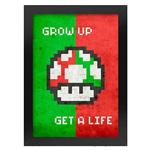 Poster com Moldura Cogumelo Pixel Grow Up Get a Life