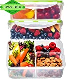 Bento Box Lunch Containers [3, 38 Oz] - Reusable Bento Boxes for Adults & Kids, 3 Compartment Meal Prep Containers, Food Storage Containers with Lids, Divided, BPA FREE, Microwave, Dishwasher Safe