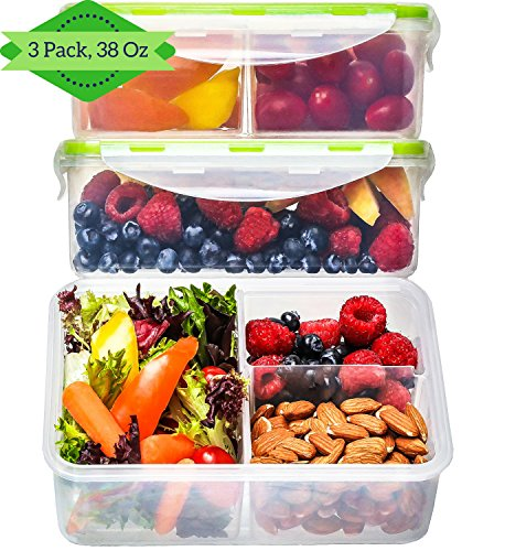 Bento Box Lunch Containers [3, 38 Oz] - Reusable Bento Boxes for Adults & Kids, 3 Compartment Meal Prep Containers, Food Storage Containers with Lids, Divided, BPA FREE, Microwave, Dishwasher Safe ()