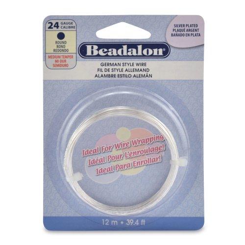 Beadalon German Style Wire, Round, Silver Plated, 24 Gauge, 12-Meters
