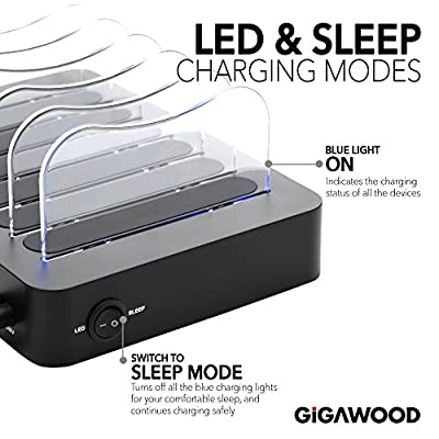 GiGAWOOD Charging Station for Multiple Devices with Bonus 8 USB Cable, LED Desktop Organizer, 6-Port 60W 12A Certified Quick 3.0 Charger Dock for iPhone iPad Cell Phones Tablets Electronics, Black