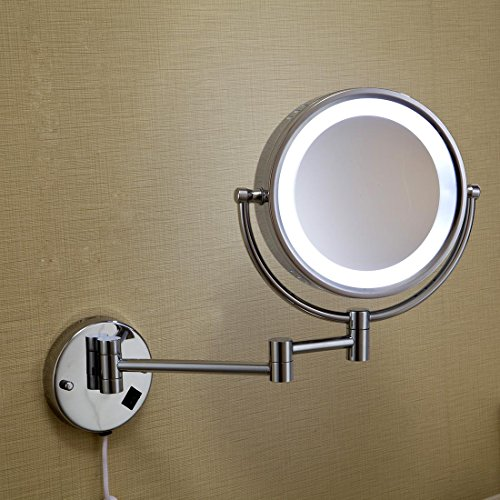 (QREZ Chrome Plated Mirror Bathroom Walls Enclosed Magnifying Glasses Wall Mounted Lamps Bathroom Mirrors)