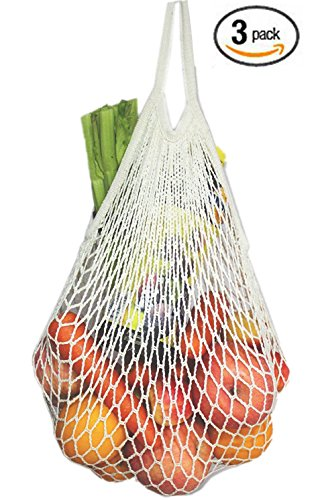 - Cotton Reusable Grocery Bags - Net Bag String Shopping Bag Produce Bags Beach Bags Mesh Bags Foldable Tote Set of 3 Short Handles