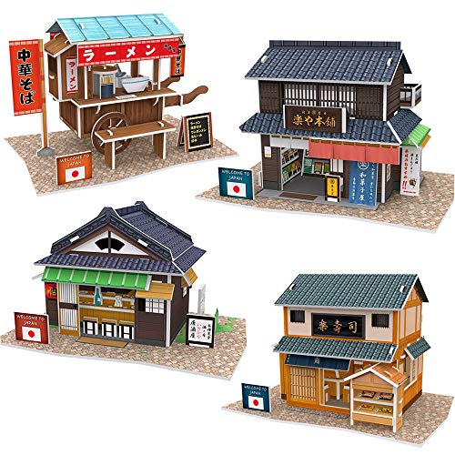3D Puzzle Studio Fun Japanese Izakaya Sushi Restaurant Ramen Cart Confectionery Japan Shop Bundle Great for Kids and Adults Gift or Presents for Children