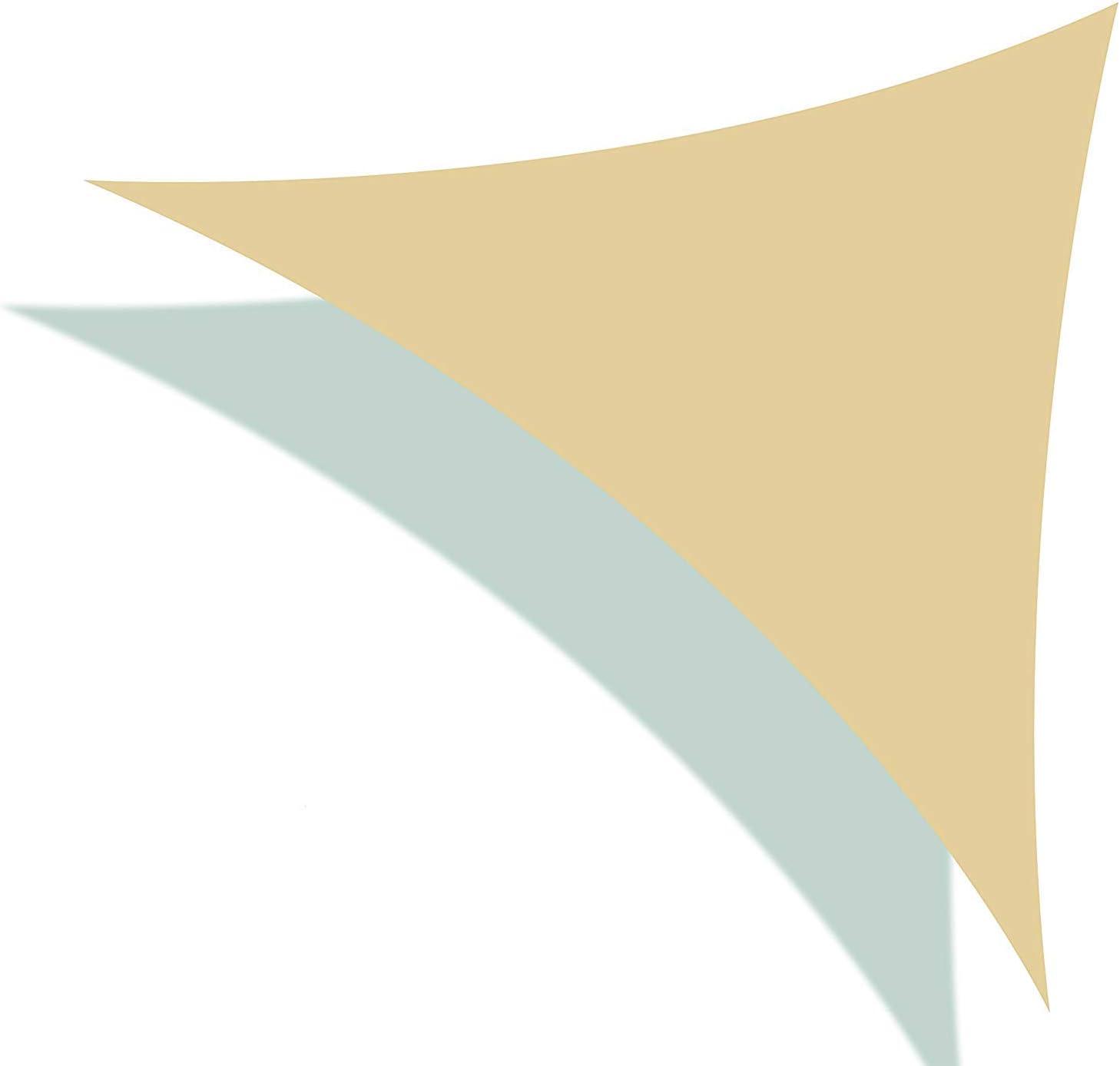 SueSport Sand Pergola Outdoor UV Block Sunshade Color 12' x 12' x 12' Sun Shade Sail Triangle for Patio Yard Deck