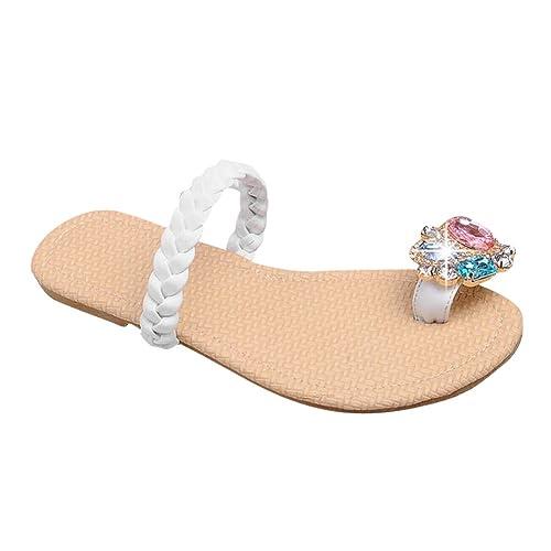 6e512f7e09c Latasa Women s Cute Rhinestones Toe Ring Backless Flats Sandals