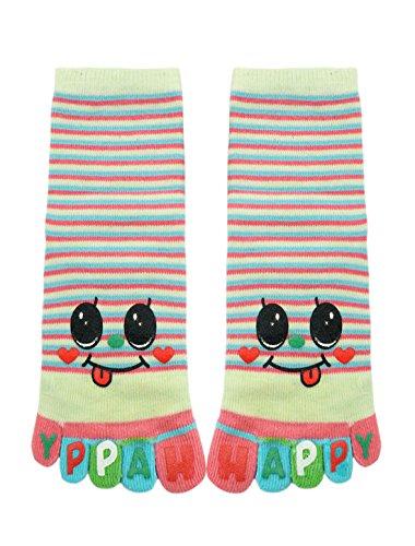 uxcell Stripes Letters Smiley Face Print Crew Full Toe Socks Green