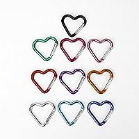 Buorsa 10 Pcs Heart Shaped Aluminum Alloy Keychain Clip Carabiner Snaphook Hook Holder Aluminum Heart Carabiner Hook Clip Key Holder