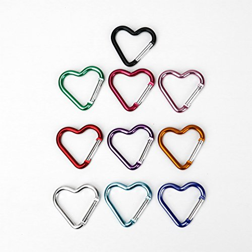 Buorsa 10 Pcs Heart Shaped Aluminum Alloy Keychain Clip Carabiner Snaphook Hook Holder Aluminum Heart Carabiner Hook Clip Key -